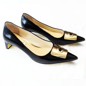 Coach | Pointed Gold Toe Black Leather Heels